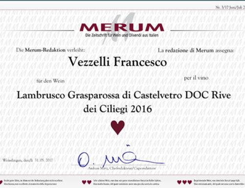 Il Grasparossa RIVE DEI CILIEGI di Francesco Vezzelli premiato dalla redazione di Merum